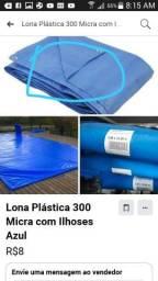 Lona Leve 300 Micras Com Ilhós Azul