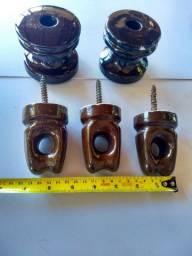 Conjunto de Isoladores Elétricos Antigos Em Porcelana
