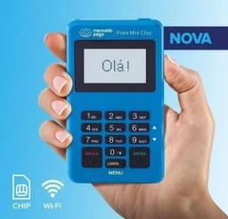 Maquininha Point Mini Chip, Essa não precisa de celular vem com chip dados móveis grátis.
