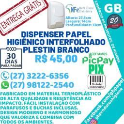 Título do anúncio: Dispenser Papel Higiênico Interfolhado Plestin Branco Porta Papel Entrega Grátis NF