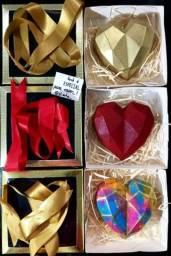Coração lapidado de chocolate / Dia dos namorados / presente perfeito / 200 g