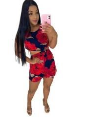 Título do anúncio: Macaquinho Feminino Estampado Vermelho Moda