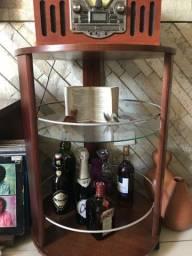 Carrinho bar redondo / aparador com prateleira de vidro