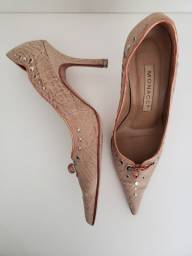 Sapato alto couro feito a mão 35