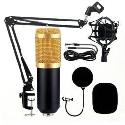Título do anúncio:  Microfone Condensador Profissional Com Fio e Suporte Estúdio Gravação