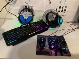 KIT Headset + Teclado + Mousepad + Mouse Gamer - Entrega Grátis!