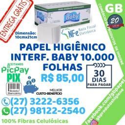 Título do anúncio: Papel Higiênico Interf. Baby Cx 10.000 Folhas 100% Fibras Celulósicas Entrega Grátis N.F