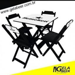 Conjunto Mesa c/ 4 Cadeiras Dobraveis Madeira