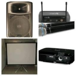 Data show, som , tela e microfone para eventos