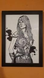 Arte rainha maeve desenho à mão A4