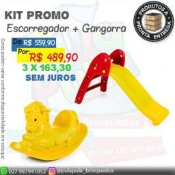 KIT de brinquedos para playground e área Kids - Escorregador E Gangorra