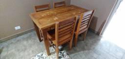 Mesa Rústica Madeira de Demolição Salão 120 x 60 ? 4 lugares c/cadeiras