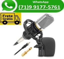 Microfone Condensador Unidirecional 20Khz Para Live Com SHock Mount Plug p2 (NOVO)