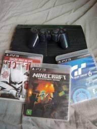 Vendo PS3 super slim de 500 GB com três jogos ou Troco em Pc gamer