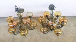 Lustre de bronze e cristal - Antiguidade