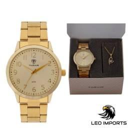 Título do anúncio: Kit Relógio Feminino Tuguir Analógico TG115 - Dourado com Brinde