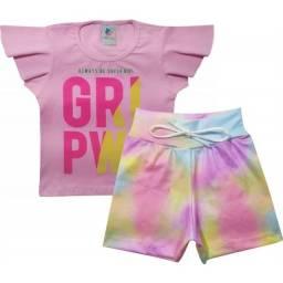 Conjunto Infantil Tie Dye Feminino tendência Verão 2020
