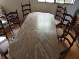 Mesa em sucupira Maciça/ Tampo em Mármore  2 x 1 + 6 cadeiras