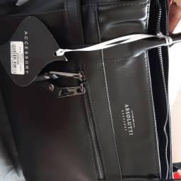Bolsa Absolutti puxador cadeado de couro