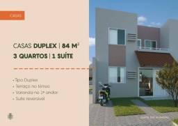 Casas duplex 82m² 3 quartos com estrutura de lazer completa! Financiamento caixa