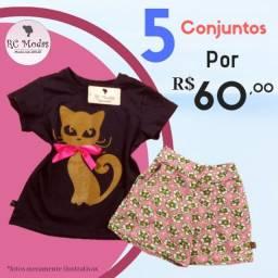 Kit - 05 Conjuntos Feminino Infantil