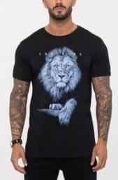 Título do anúncio: Camisa Blusa Masculina Preta 100% Algodão Leão Tamanho M