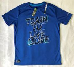 Camiseta Dry Fit Ninety Eight Tamanho M Manga Curta Cor Azul Gola Redonda Produto Novo