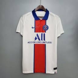 Título do anúncio: Camisa II PSG Polo Branca - 2021 - camisas de time de futebol a pronta entrega