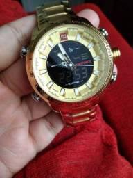Relógio masculino Digital e Analógico Dourado