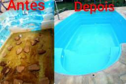 Pintura e reforma de piscina de fibra
