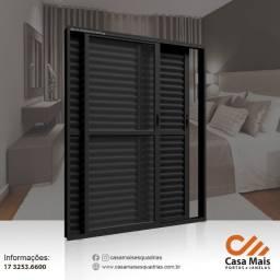Título do anúncio: Porta Balcão Aluminio Preto com Vidro Temperado