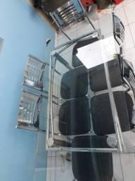 Mesa de vidro com 6 lugares, cadeira estofado com extrutura de inox