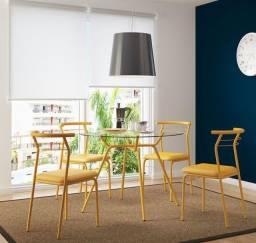 Mesa de cozinha, tampo de vidro redondo 1,05m, quatro lugares, amarelo ouro Carraro.