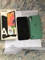Samsung A01 na caixa