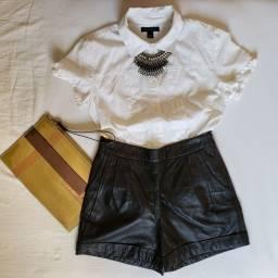 NOVO - Shorts em couro legítimo - Cintura alta