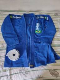 Kimono Shinai Jiu Jitsu Standart Trançado A1 - Masculino - Azul