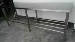 Mesa Inox AISI 430 medida 2,90mt de comprimento - Produto novo Reforçado