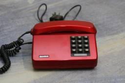 Telefone Gradiente Antigo De Tecla Tijolão Vermelho Metálico Anos 80
