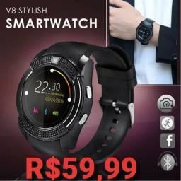 Smartwatch V80|faz e recebe ligações|Aceita chip|mp3|Notificações