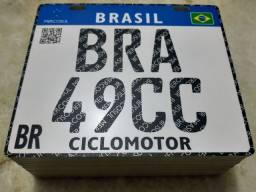 Placa 49cc Mercosul 20x17cm com furos