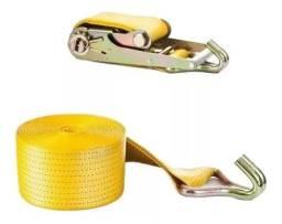 Conjunto cinta de amarração com catraca e gancho 10 ton 9 m