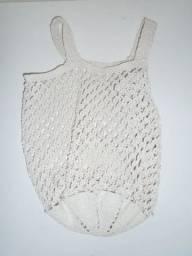 Bolsa Branca De Crochê