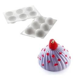 Forma Molde de silicone redonda Parfum 6 cavidades para cupcake sobremesa trufa