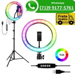 Título do anúncio: Ring Light Rgb 26cm 10 Polegadas + Tripé 2.10m Colorido (NOVO)