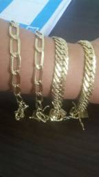 Correntes pulseiras aneis feitos de moeda antiga