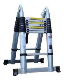 Escada Telescópica Dobrável Dupla 16 Degraus em V 5mts Alumínio Original