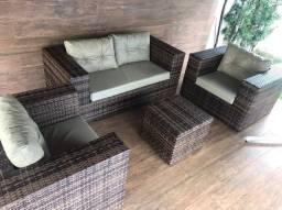 Conjunto de sofá haras em fibra sintética