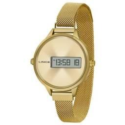 Relógio Lince Feminino Digital Dourado
