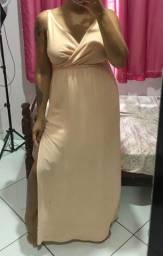 Vestido longo liso com fenda - M