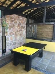 Mesa de Bilhar Pedra de Ardósia Cor Preta Tecido Amarelo Modelo AMQ4121